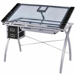 Adjustable Drawing Desk Drafting Table Tempered Glass Top Ar