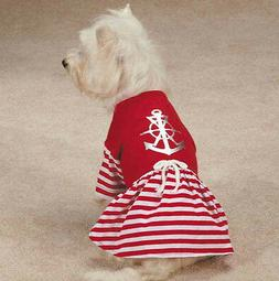 All Paws on Deck Dog Dress Anchor Pet Red Nautical Sailor  X
