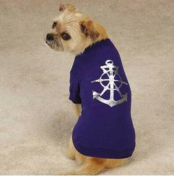 All Paws on Deck Dog T-Shirt Tee Top Anchor Pet Navy Nautica