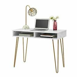 Computer Desk With Storage, White Marble White Marble Comput