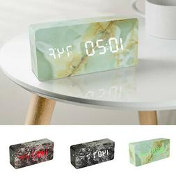 Marble Pattern - LED Wooden Alarm Clock Sound Control For Be