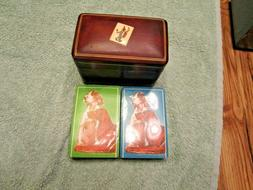 Old Leather Italy Double Card Decks Holder & 2 Sealed Old St