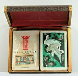 Vintage Kem Playing Cards Sealed Decks w/Tax Stamps in Leath